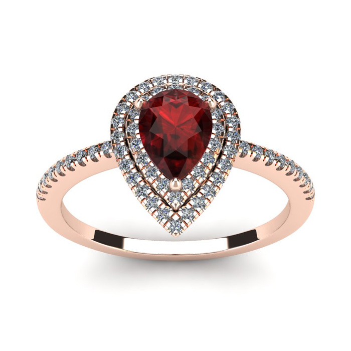 1 1/5 Carat Pear Shape Garnet and Double Halo Diamond Ring In 14 Karat Rose Gold
