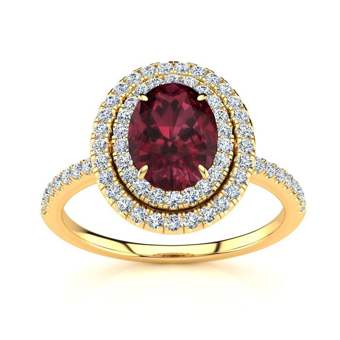1 3/4 Carat Oval Shape Garnet and Double Halo Diamond Ring In 14 Karat Yellow Gold