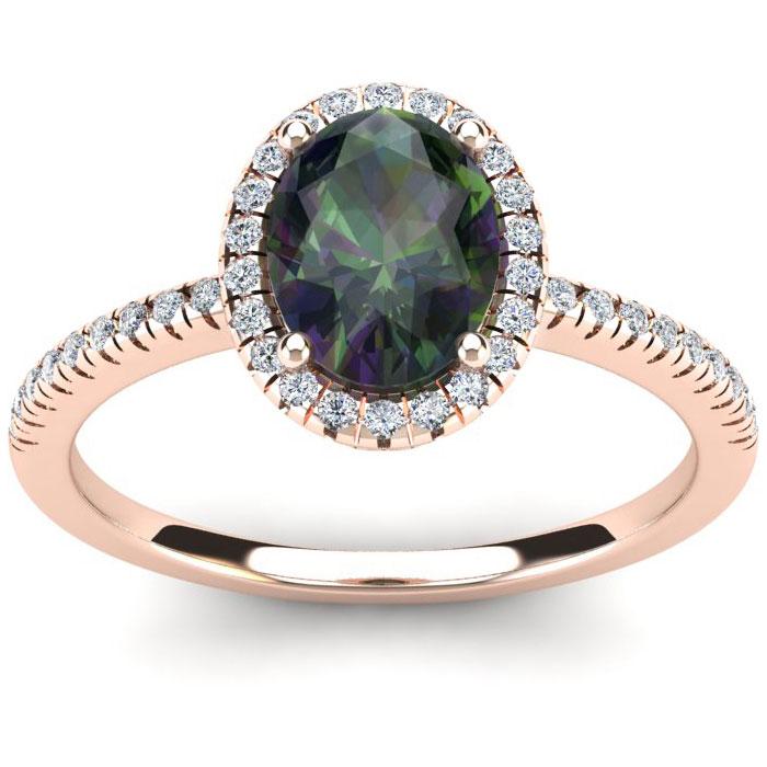 1 3/4 Carat Oval Shape Mystic Topaz and Halo Diamond Ring In 14 Karat Rose Gold