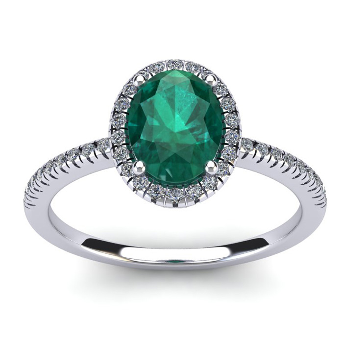 1 1/3 Carat Oval Shape Emerald and Halo Diamond Ring In 14 Karat White Gold