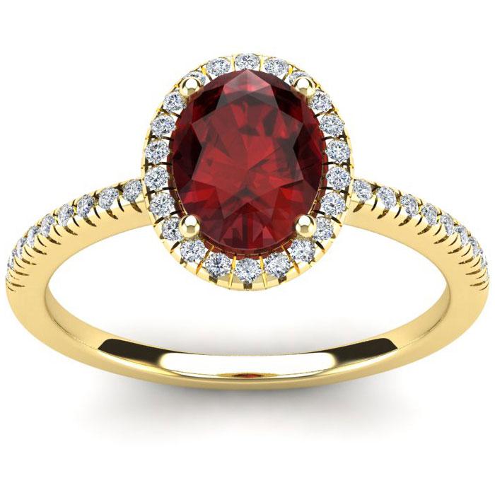 1 3/4 Carat Oval Shape Garnet and Halo Diamond Ring In 14 Karat Yellow Gold