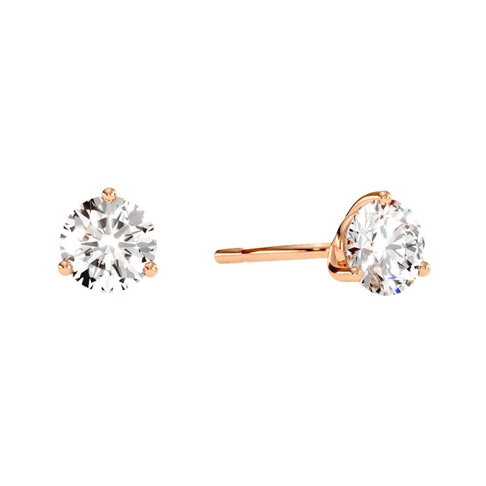 1 Carat Diamond Martini Stud Earrings In 14 Karat Rose Gold