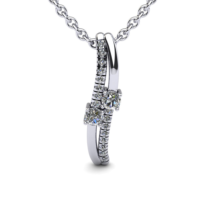 1/3 Carat Two Stone Diamond Curve Necklace In 14K White Gold