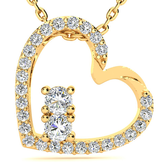 1/2 Carat Two Stone Diamond Heart Necklace In 14K Yellow Gold