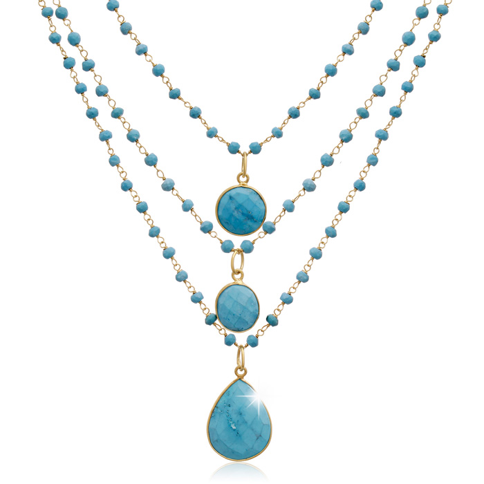 86 Carat Turquoise Triple Strand Beaded Necklace In 14K Yellow Gold, 26 Inches