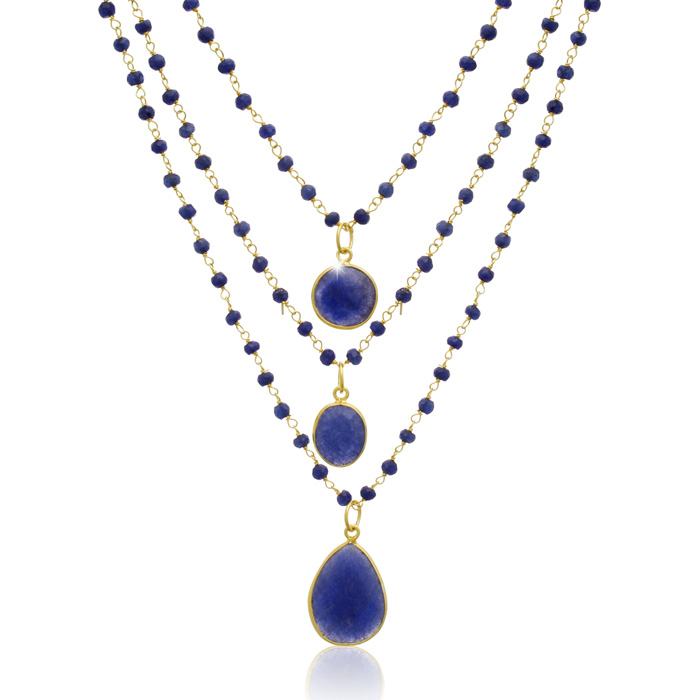 93 Carat Sapphire Triple Strand Beaded Necklace In 14K Yellow Gold, 26 Inches