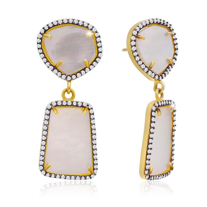 32 Carat Mother of Pearl and Simulated Diamond Earrings In 14K Yellow Gold
