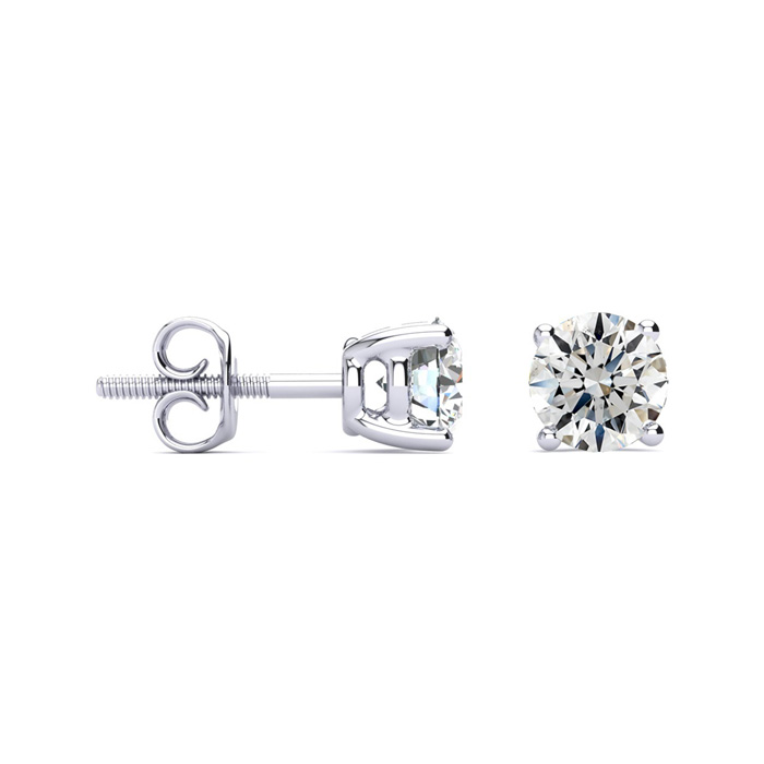 1 3/4ct Round Diamond Stud Earrings Set in Platinum