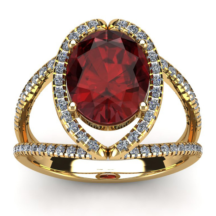 3 1/2 Carat Oval Shape Garnet and Halo Diamond Ring In 14 Karat Yellow Gold