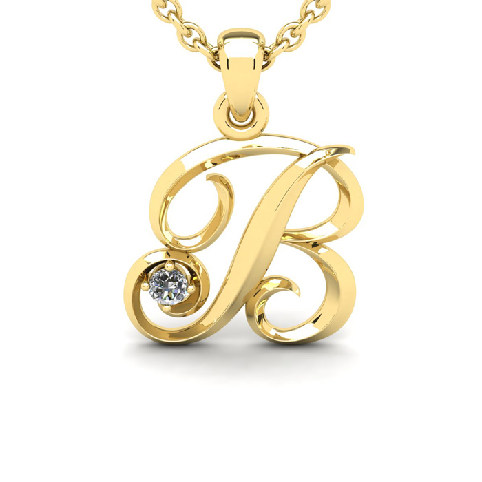 Diamond Accent B Swirly Initial Necklace In Yellow Gold With Free 18 Inch Cable Chain