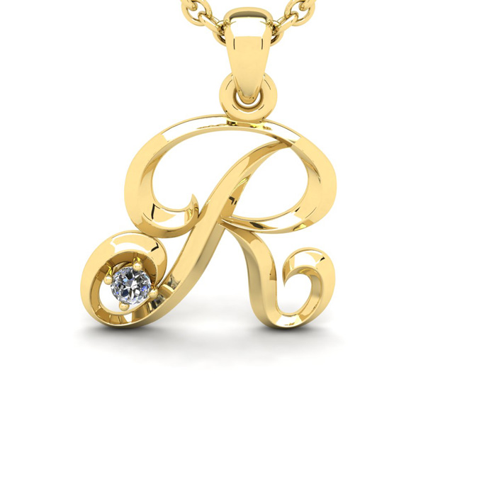 Diamond Accent R Swirly Initial Necklace In Yellow Gold With Free 18 Inch Cable Chain