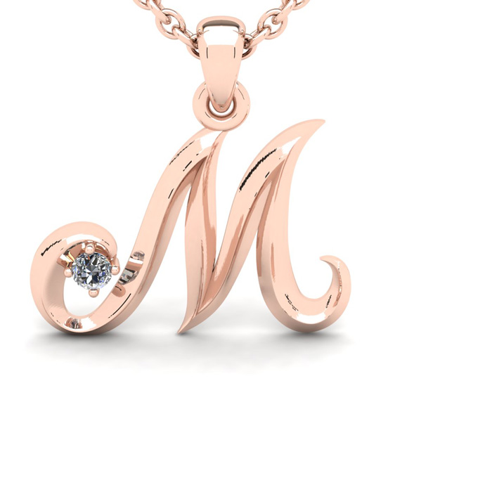 Diamond Accent M Swirly Initial Necklace In Rose Gold With Free 18 Inch Cable Chain