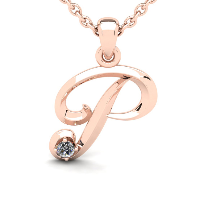 Diamond Accent P Swirly Initial Necklace In Rose Gold With Free 18 Inch Cable Chain