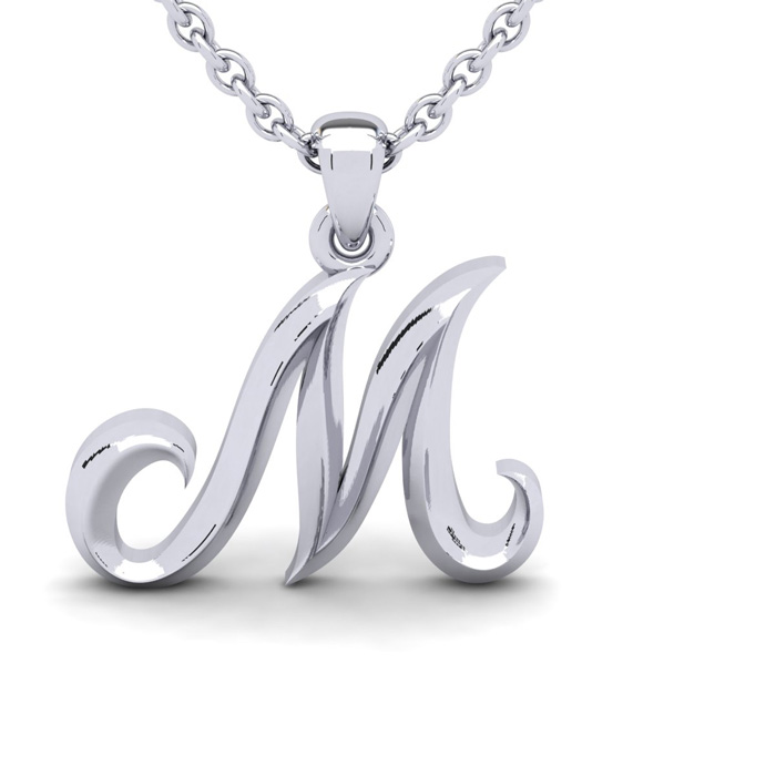M Swirly Initial Necklace In Heavy 14K White Gold With Free 18 Inch Cable Chain