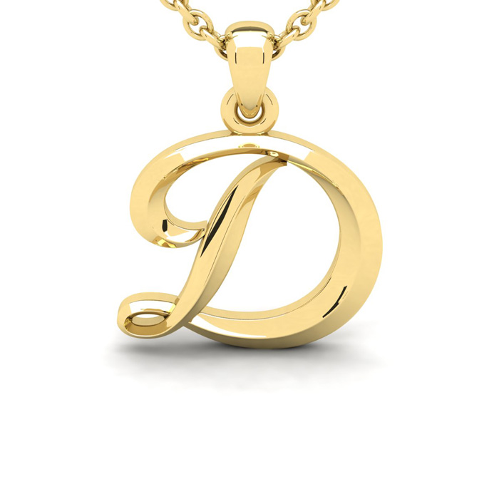 D Swirly Initial Necklace In Heavy 14K Yellow Gold With Free 18 Inch Cable Chain