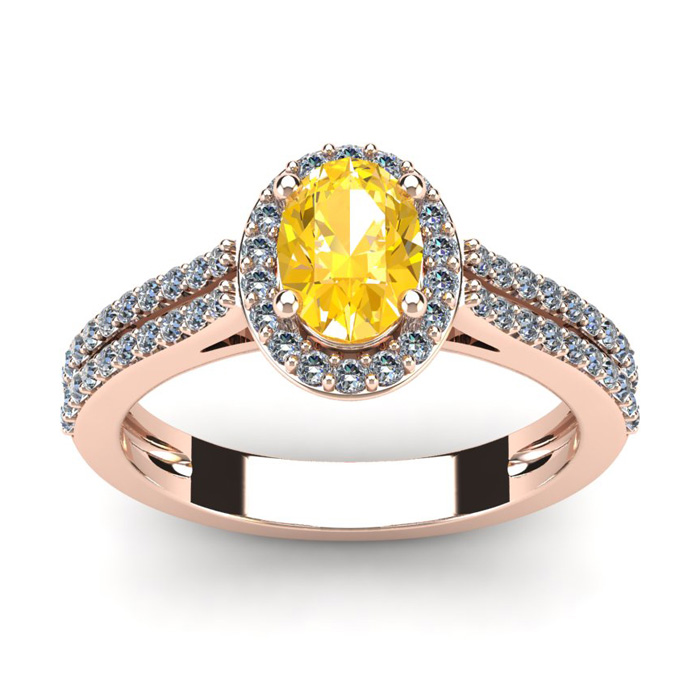1 Carat Oval Shape Citrine and Halo Diamond Ring In 14 Karat Rose Gold