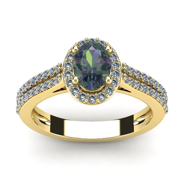 1 1/2 Carat Oval Shape Mystic Topaz and Halo Diamond Ring In 14 Karat Yellow Gold