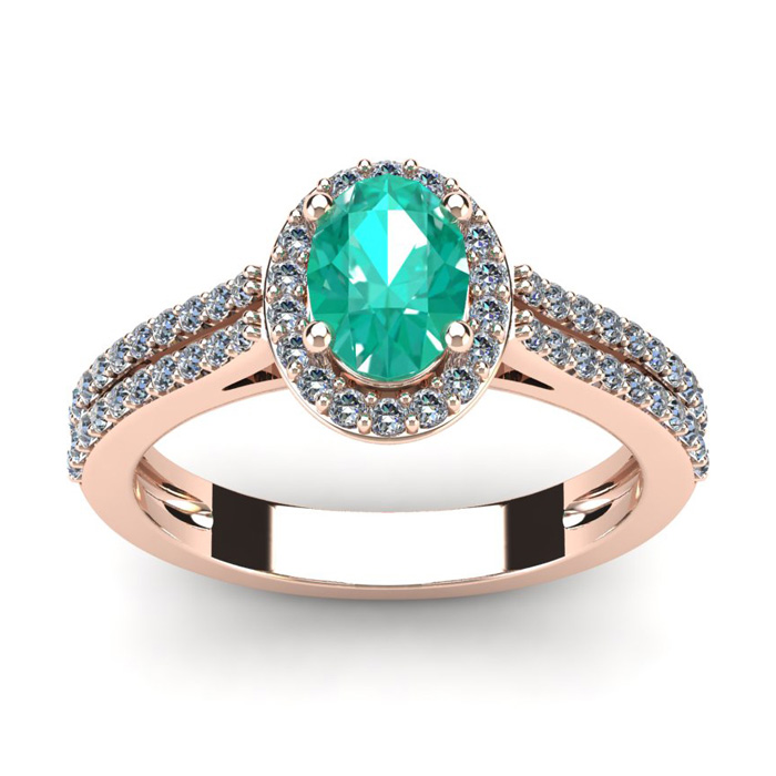 1 1/4 Carat Oval Shape Emerald and Halo Diamond Ring In 14 Karat Rose Gold