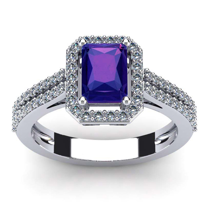 1 1/3 Carat Emerald Cut Amethyst and Halo Diamond Ring In 14 Karat White Gold