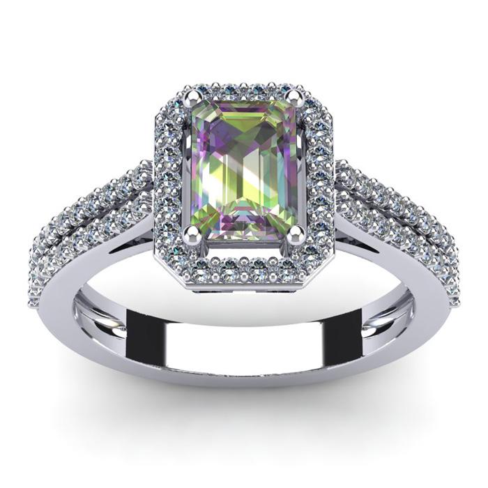 1 1/3 Carat Emerald Cut Mystic Topaz and Halo Diamond Ring In 14 Karat White Gold