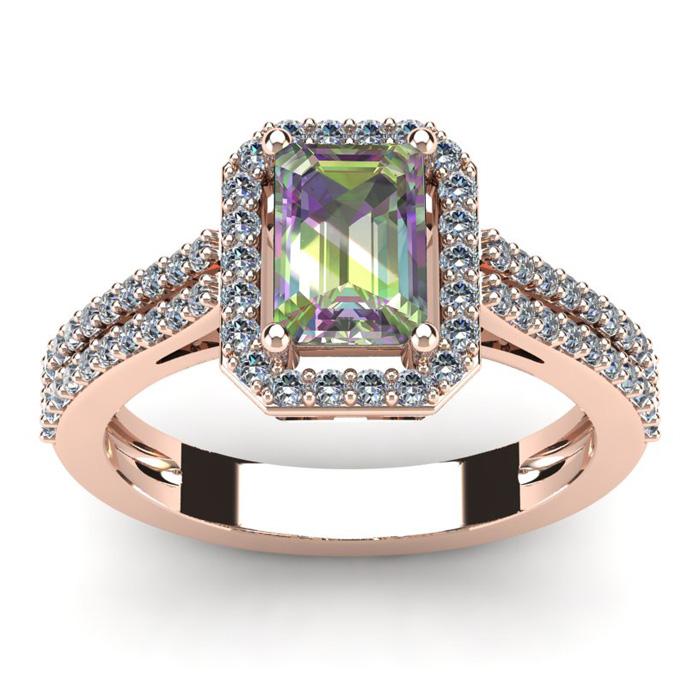 1 1/3 Carat Emerald Cut Mystic Topaz and Halo Diamond Ring In 14 Karat Rose Gold
