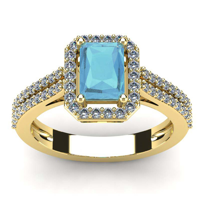 1 1/3 Carat Emerald Cut Aquamarine and Halo Diamond Ring In 14 Karat Yellow Gold