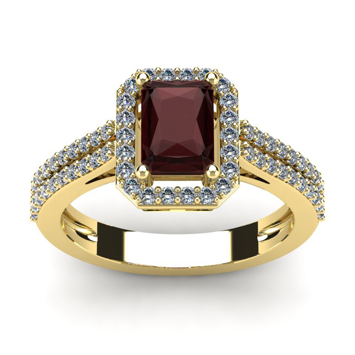 1 3/4 Carat Emerald Cut Garnet and Halo Diamond Ring In 14 Karat Yellow Gold
