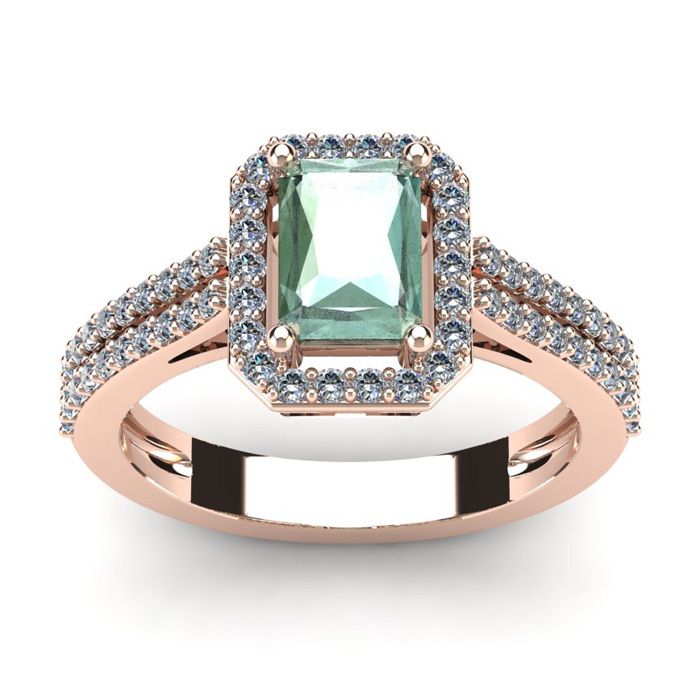 1 1/3 Carat Emerald Cut Green Amethyst and Halo Diamond Ring In 14 Karat Rose Gold