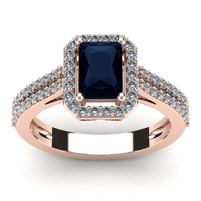 1 1/2 Carat Emerald Cut Sapphire and Halo Diamond Ring In 14 Karat Rose Gold