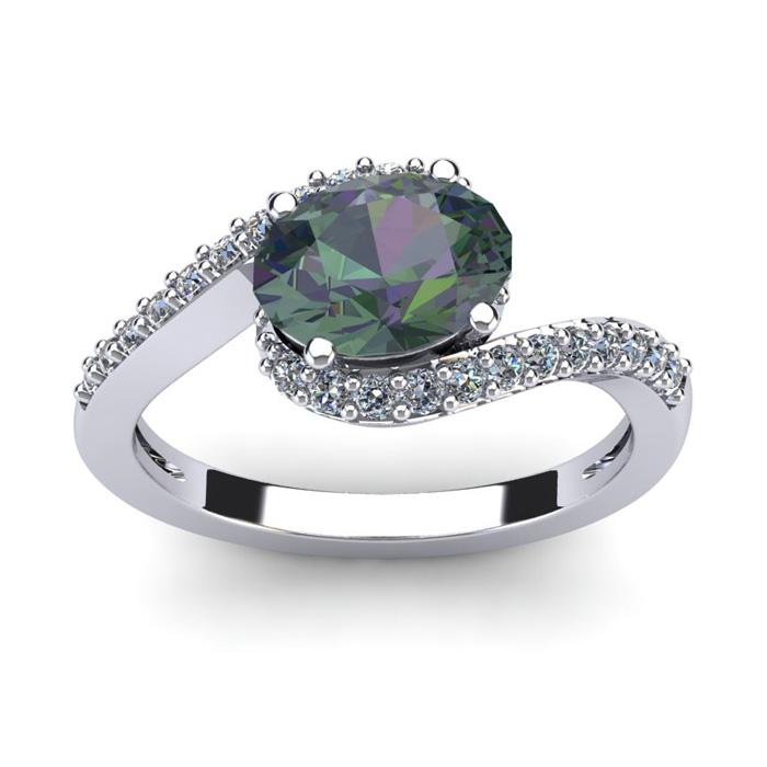 1 3/4 Carat Oval Shape Mystic Topaz and Halo Diamond Ring In 14 Karat White Gold