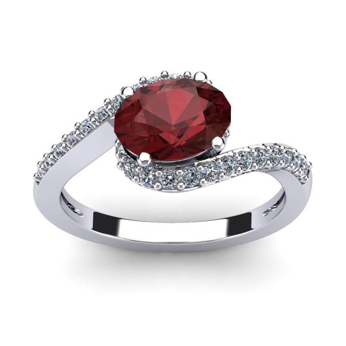 1 3/4 Carat Oval Shape Garnet and Halo Diamond Ring In 14 Karat White Gold
