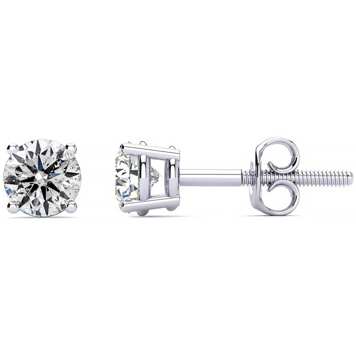 1 Carat Genuine Natural Diamond Stud Earrings In 14 Karat White Gold