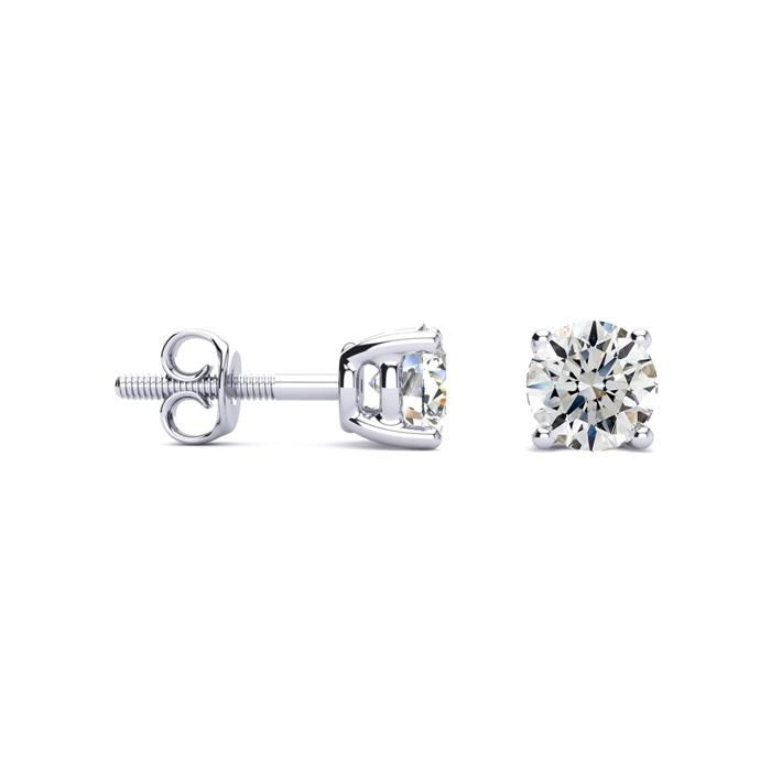 1ct Hearts & Arrows Diamond Earrings in 18k White Gold, G/H, SI1/SI2