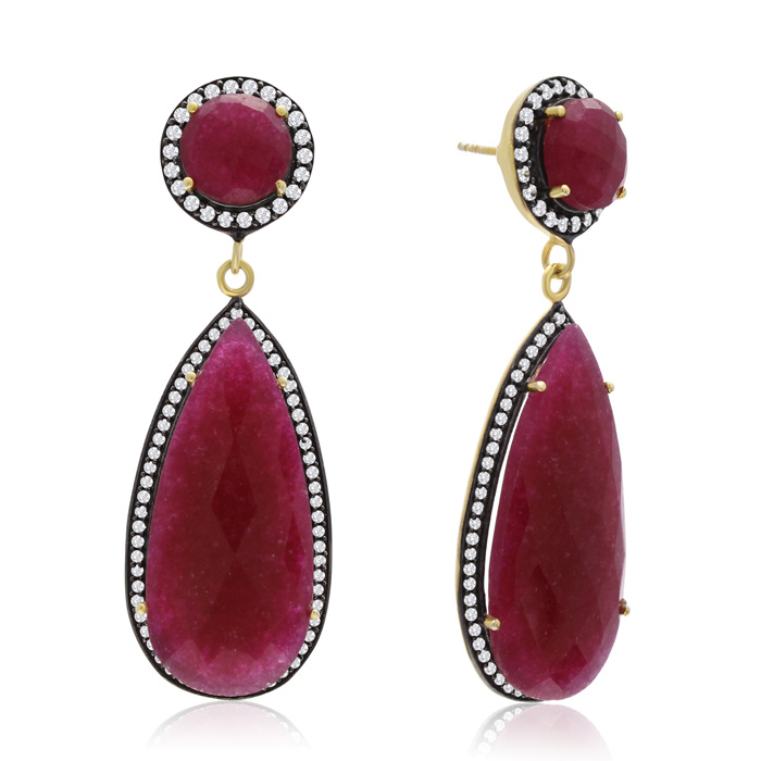 64 Carat Pear Shape Ruby and Simulated Diamond Halo Dangle Earrings In 14K Yellow Gold