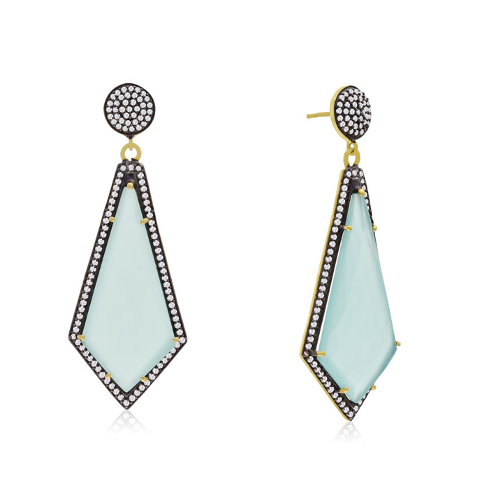 45 Carat Diamond Shape Green Chalcedony and Simulated Diamond Dangle Earrings In 14K Yellow Gold