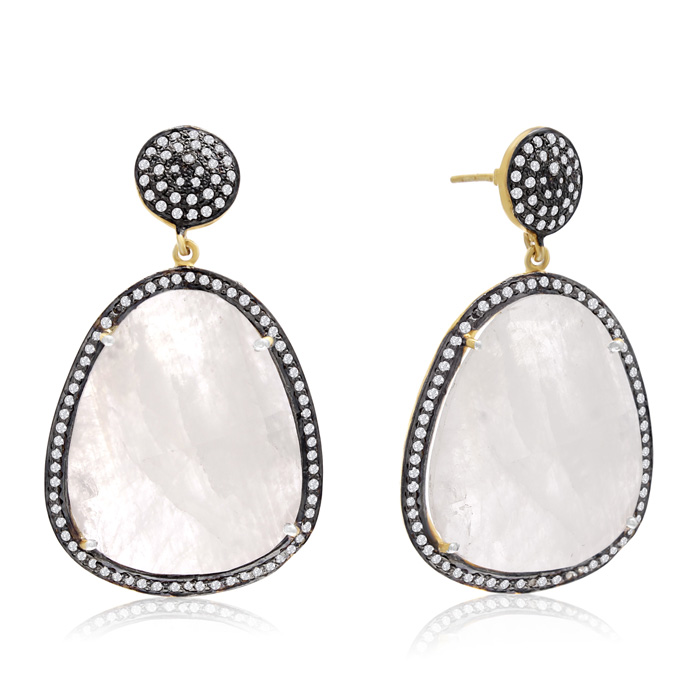 86 Carat Free Form Moonstone and Simulated Diamond Dangle Earrings In 14K Yellow Gold