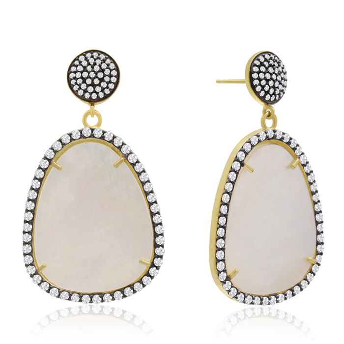 86 Carat Free Form Mother of Pearl and Simulated Diamond Dangle Earrings In 14K Yellow Gold