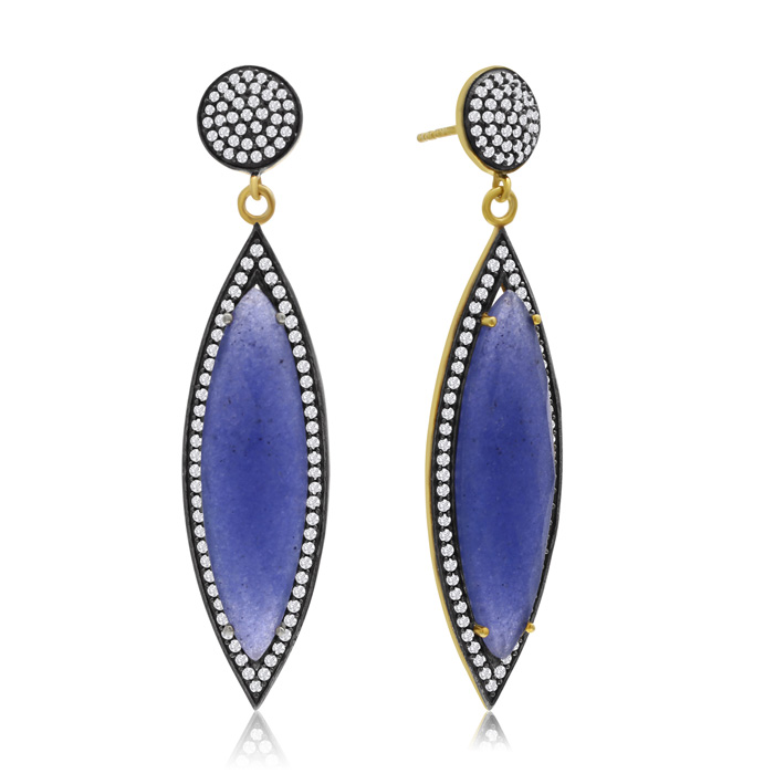 56 Carat Marquise Shape Blue Sapphire and Simulated Diamond Dangle Earrings In 14K Yellow Gold