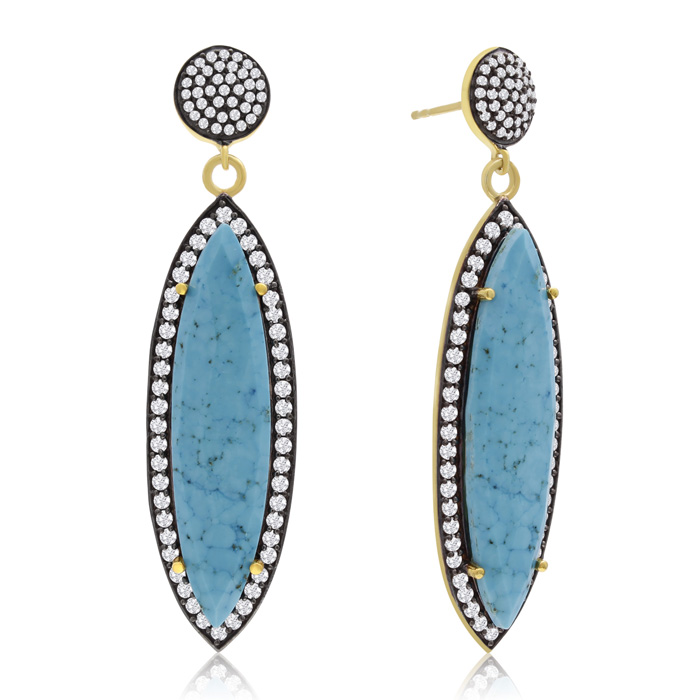 56 Carat Marquise Shape Turquoise and Simulated Diamond Dangle Earrings In 14K Yellow Gold