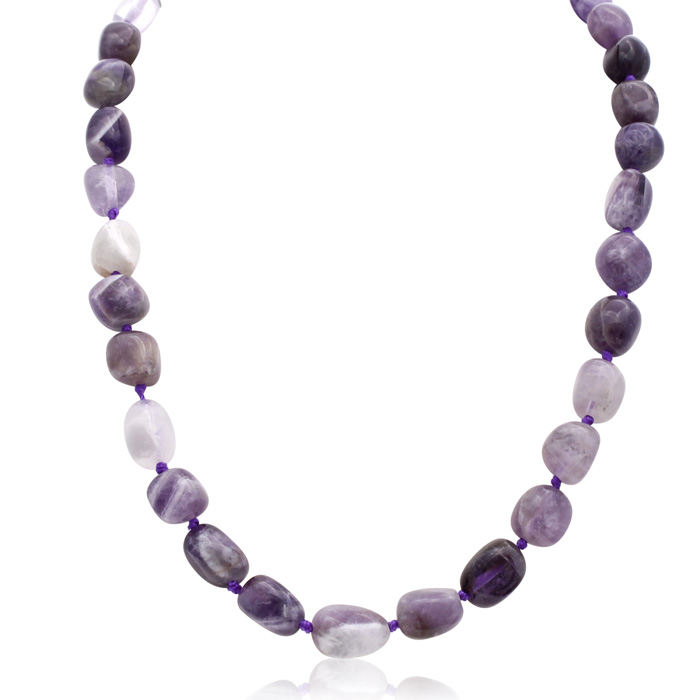30 Carat Natural Amethyst Beaded Necklace, 18 Inches