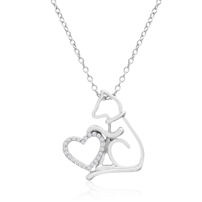 ASPCA® Tender Voices® Sterling Silver Dog Silhouette With Heart Necklace 1/10cttw