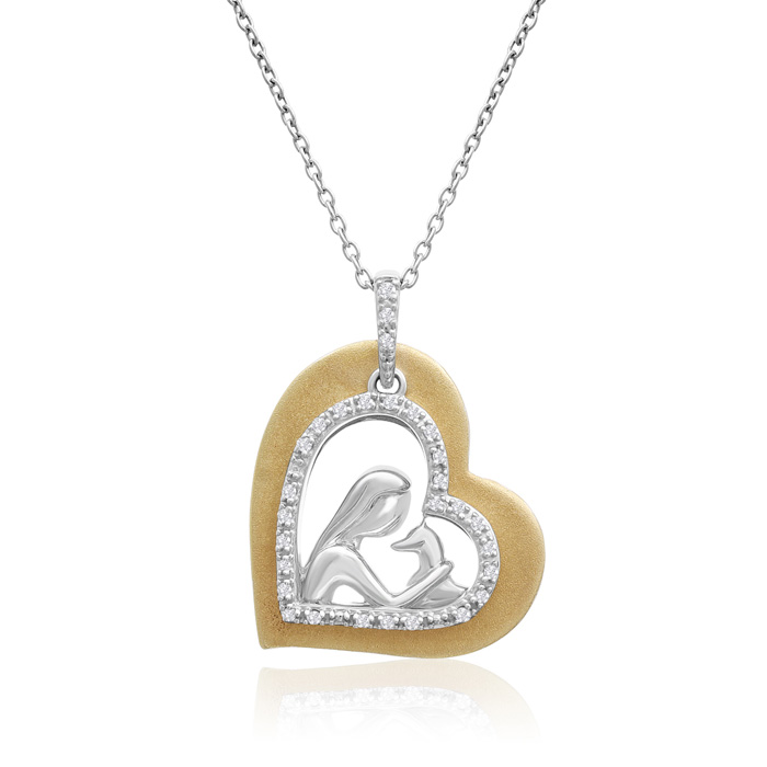 ASPCA® Tender Voices® 10k Yellow Gold And Sterling Silver Diamond Animal Love Necklace 1/10cttw