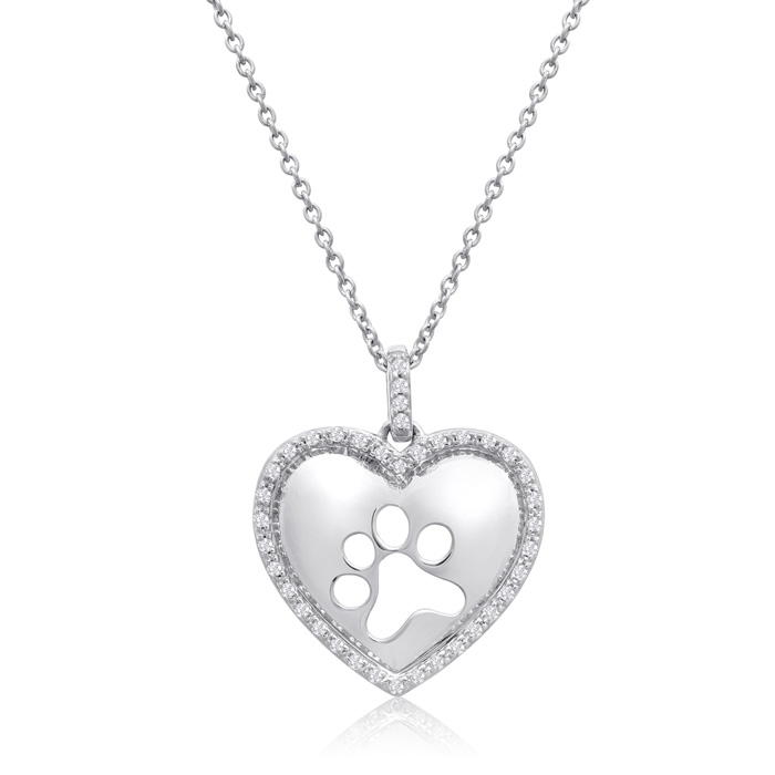 ASPCA® Tender Voices® Sterling Silver Diamond Paw Print In Heart Necklace 1/6cttw