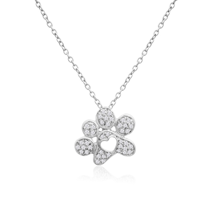 ASPCA® Tender Voices® Sterling Silver Diamond Paw Print Necklace 1/6cttw