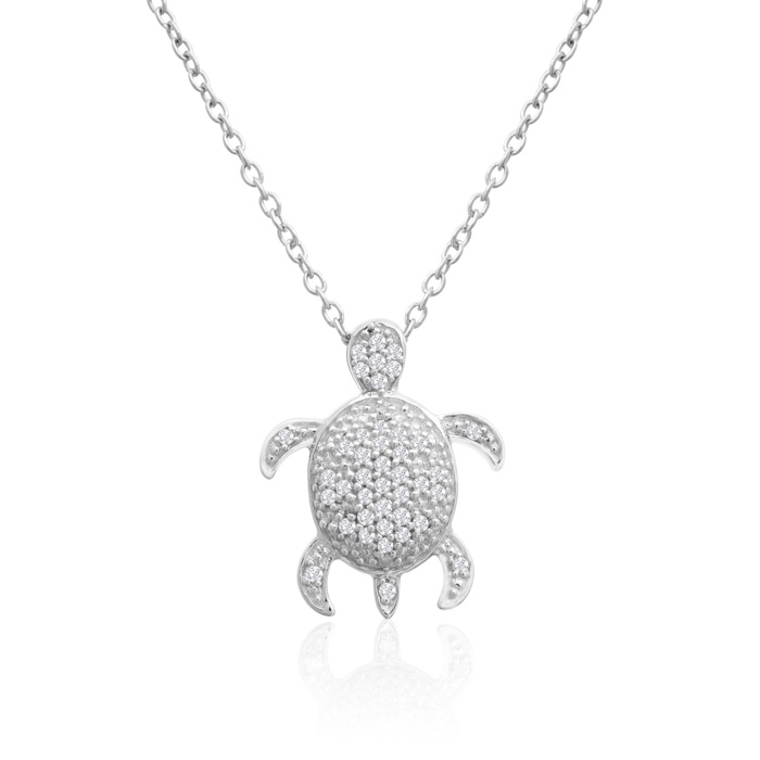 ASPCA® Tender Voices® Sterling Silver Diamond Turtle Necklace 1/6cttw