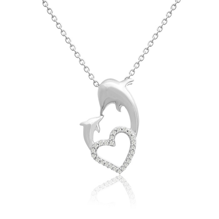 ASPCA® Tender Voices® Sterling Silver Diamond Dolphin and Heart Necklace 0.12cttw