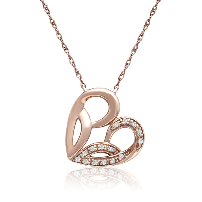 10K Rose Gold 0.05 Carat Diamond Heart Necklace, 18 Inches