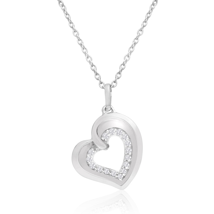 Sterling Silver 1/5 Carat Two Become One Heart Necklace, 18 Inches