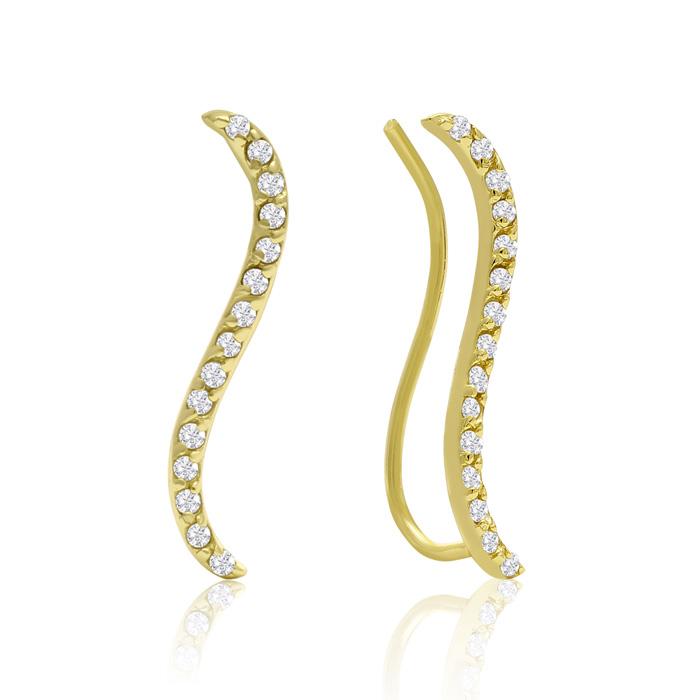1/3 Carat Diamond Swirl Ear Climbers In Gold