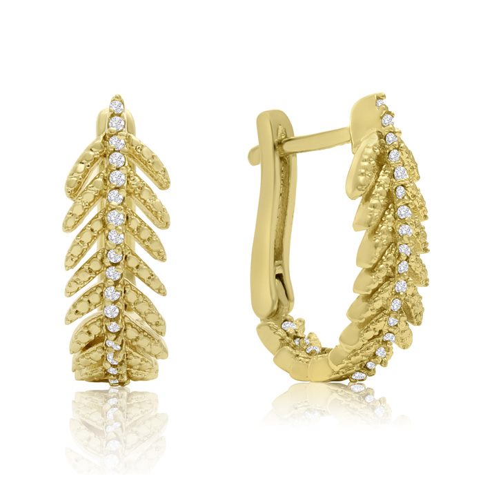 1/4 Carat Diamond Feather Earrings In Gold Overlay With Latch backs